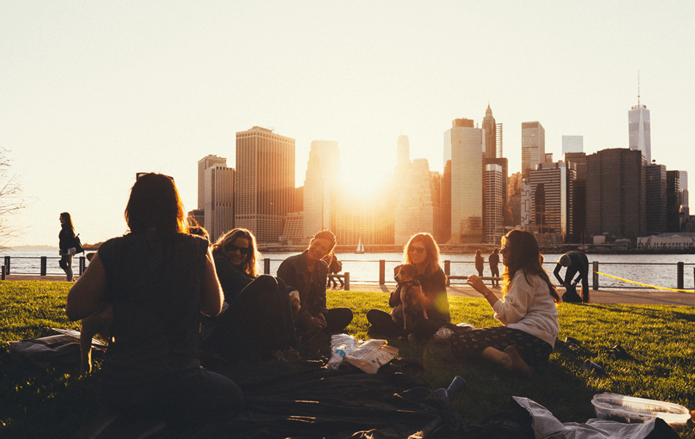 Group of female friends enjoying a picnic on the grass at sunset against the backdrop of the New York City skyline.