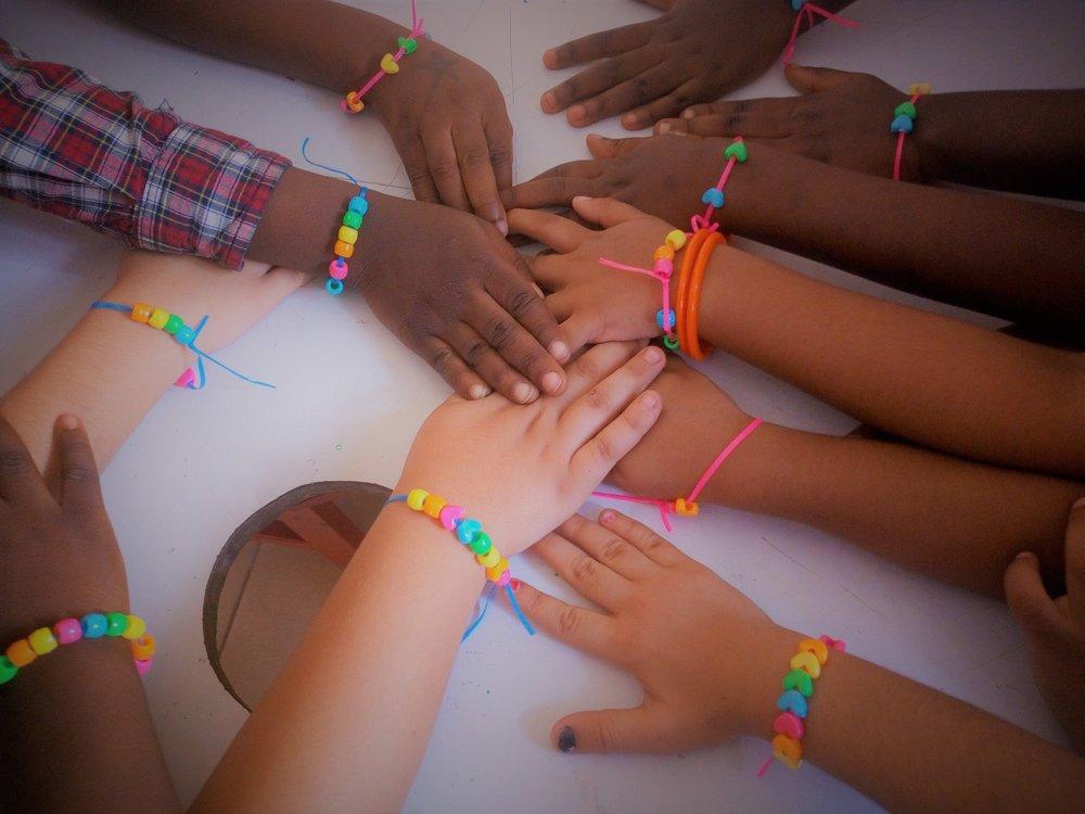 Rainbow bead bracelets!