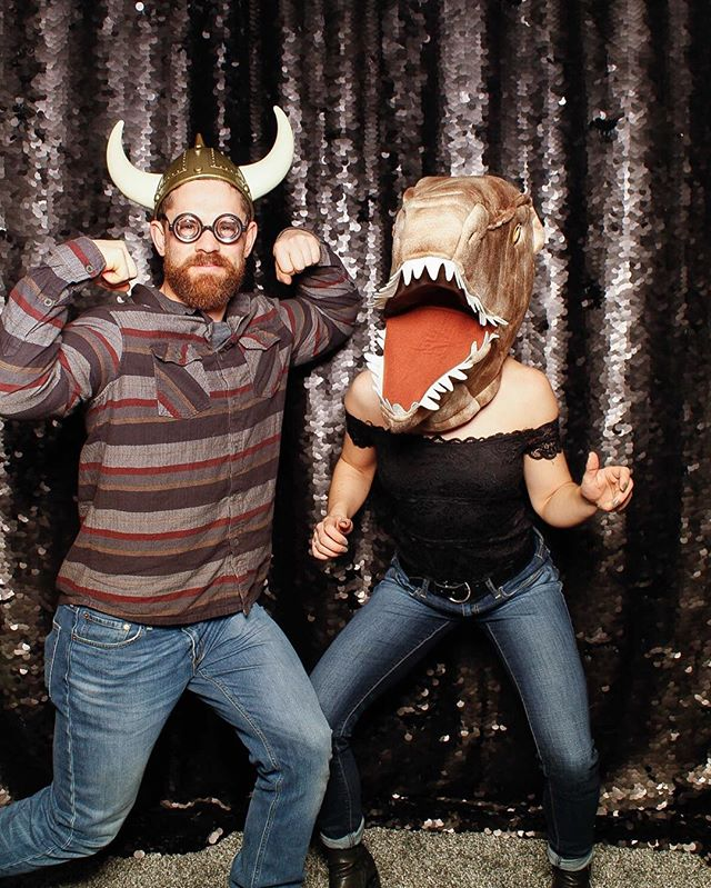 This couple was Dino-mite! Rawr. ~Off The Wall Fotobooths • • • #trex #funtimes #fotobooth #partyrentals #eventrentals #vancouverisland #victoria #events #photobooth #offthewallfotobooth