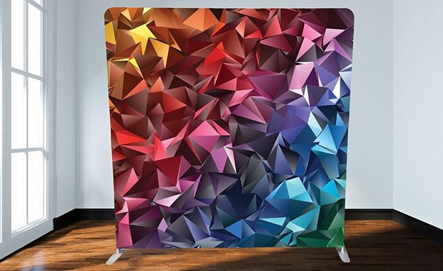 """Check out this funky new backdrop! The """"Geo Blast""""Perfect for adding a pop of colour to your next corporate event. #fotobooth #victoria #vancouverisland #yyj #eventrentals #photobooth #fun #keepsakes #entertainment"""