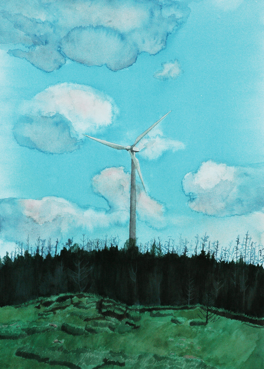 """Windmill with Burnt Wood"""
