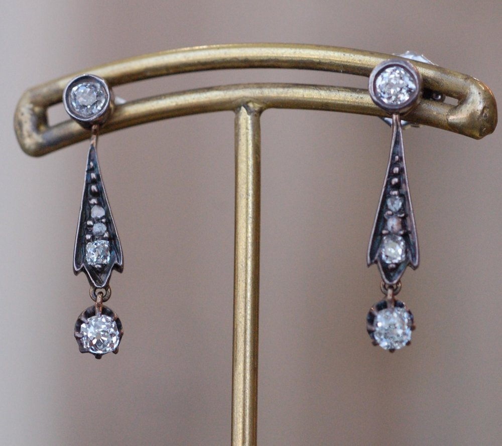 Edwardian Mine and Rose Cut Diamond Earrings
