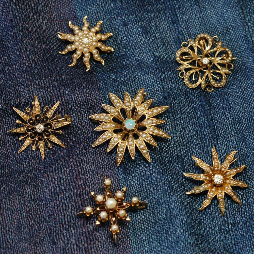 Victorian snowflake broaches/pins