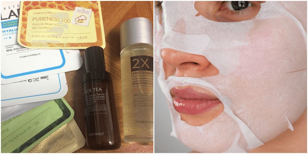 """Unnamed.         (First photo, cropped) © 2016    Nuhaa All Bakry    All Rights Reserved.    CC BY 2.0.      """" Facial Sheet Mask.""""    (Second photo, cropped) © 2018    Cushy Spa    All Rights Reserved.    CC BY 2.0."""