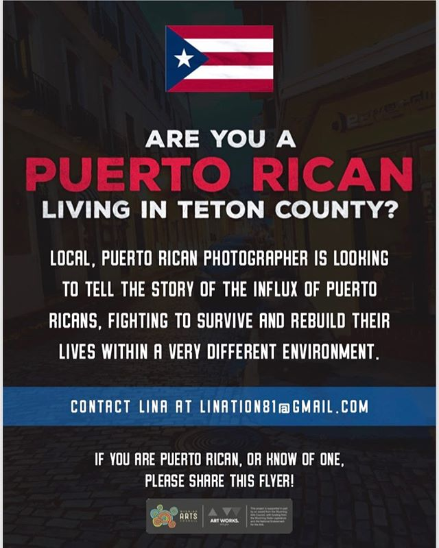 My next photo story. I need some help.  Know of a Puerto Rican in Jackson, Driggs or Victor? Please feel free to tag them on the comments or DM me with their contact or put some flyers in your business/work place. Anything will help. If you want a flyer, let me know! Designed by @cole.mgkra 👌🏻
