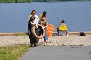 Junior Ranger Program hauling tires