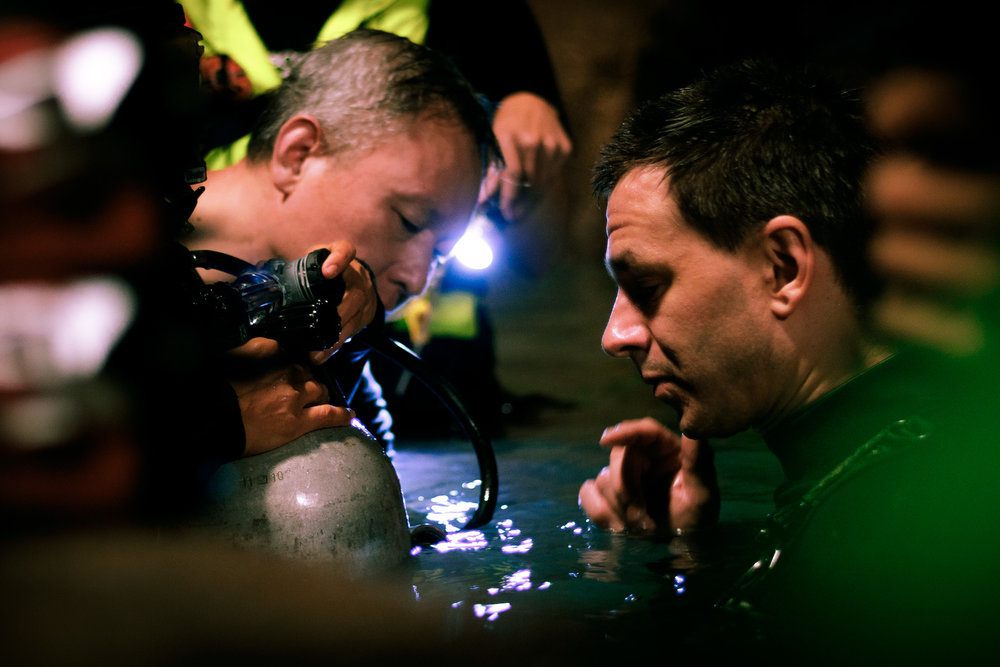 Cave rescue divers Tan Xiaolong and Jim Warny preparing for a scene in writer/director Tom Waller's 'THE CAVE'. Photo by Fredrik Divall (c) De Warrenne Pictures Co. Ltd. All Rights Reserved.