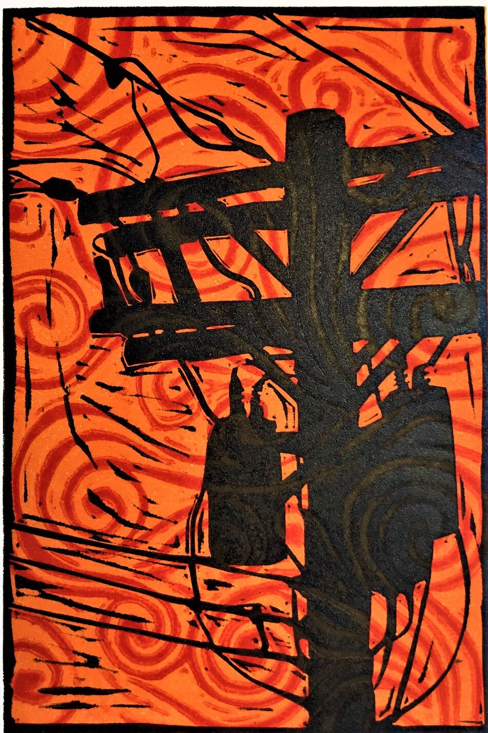 Telephone Pole Red Wind Black And White Linocut Kelley Donner