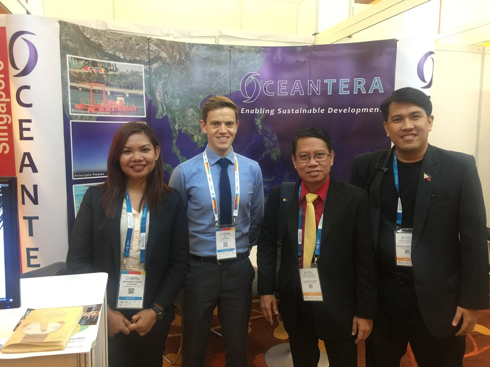 The Philippine Department of Energy, Renewable Energy Management Bureau, Hydro and Ocean Division visiting Oceantera booth at the Asia Clean Energy Summit (ACES) 2018.
