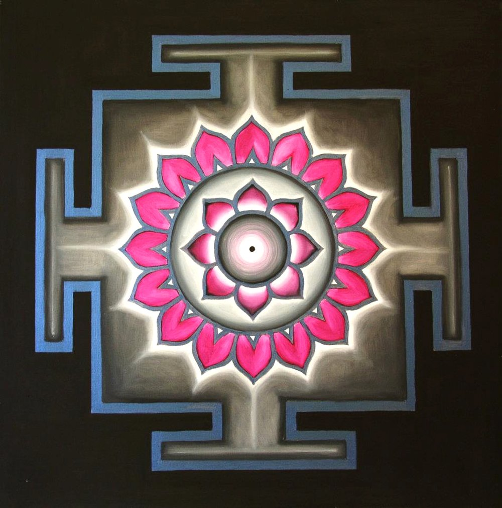 Yantra of the Great Cosmic Power Dhumavati, oil on canvas, 100x100 cm (see full image in Gallery)
