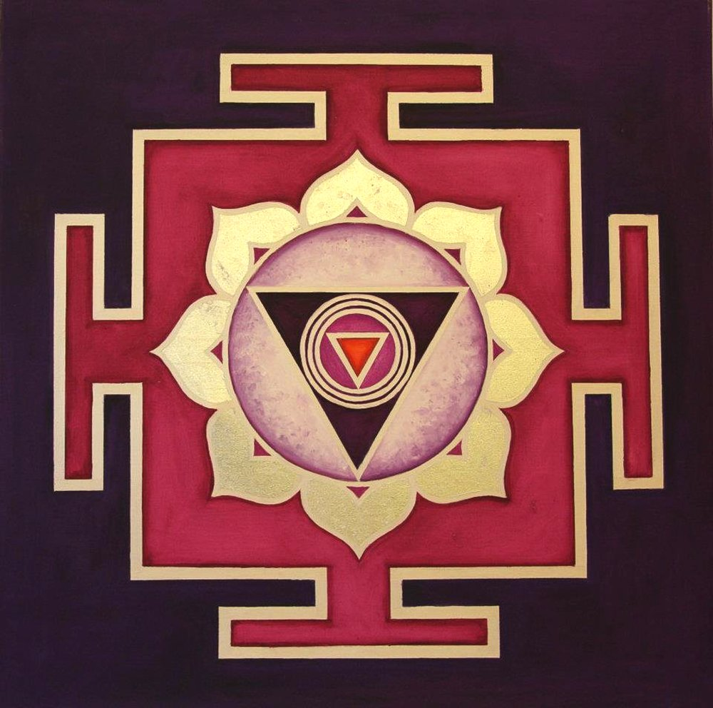 Yantra of the Great Cosmic Power Chinamasta, oil on canvas, 100x100 cm (see full image in Gallery)