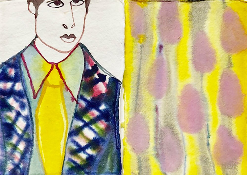 Yellow scarf + abstract