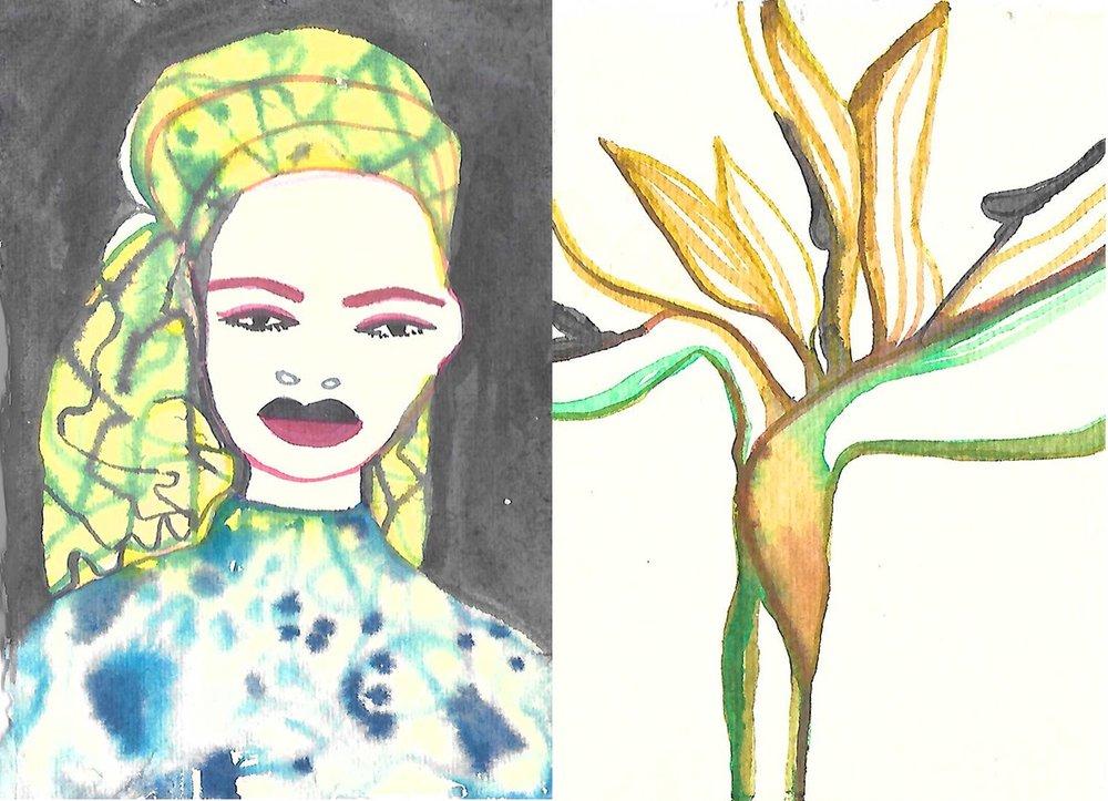 yellow turban + bird of paradise