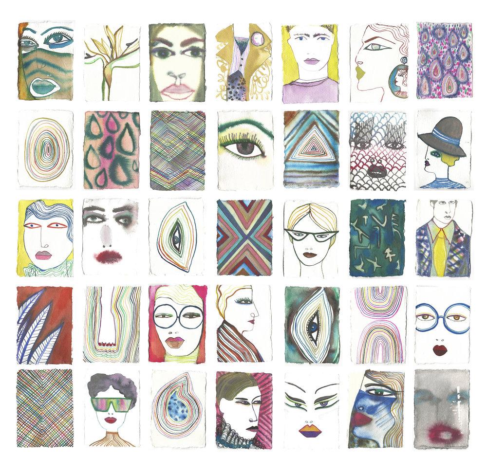"""""""Multitude"""" 35 ink drawings 11x15cm"""