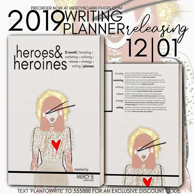 After a year hiatus, the NEW writing planner is HERE from the Written Agenda & Mercy B Carruthers. Take a peek inside by reading what you will be receiving with this phenomenal planner. It is the BEST planner that you will ever purchase for fictional writing and publishing. [Text 'plantowrite' to 555888 for an EXCLUSIVE discount on your planner, today. Discount code is limited to 20 uses and will end on 11/20.] Inside, I have combined the following to make sure that you have a successful year of writing:  Branding: create your brand's identity by following the guided + proven strategies provided by Mercy B Carruthers, #1 National Bestselling + Multiple Award-Winning Author, inside of your planner.  Marketing: marketing has been proven as the most complicated phase of a writer's publishing process. create a universal marketing strategy that will put you in front of thousands of eyes. templates are inside!  Outlining: outlining a novel is a key component to creating a captivating story that will forever be remembered amongst your readers. develop characters and storylines using the guided templates inside of your planner.  Release: deciding to release your books can be tricky with life happening all around you. use the 12 calendars inside of your planner to determine when releasing is best for you to avoid feeling pressured or overwhelmed.  Strategy: figuring out what works best for your writing career is essential to success. keep track of your personal victories and failures to later compose a writing strategy that will keep you on track and meeting goals set.  Writing: consistency is key! almost anyone would agree. track your writing habits to discover your best strategy to help you produce content consistently during your career. trackers are inside of your planner.  Text 'plantowrite' to 555888 for an EXCLUSIVE discount on your planner, today. Discount code is limited to 20 uses and will end on 11/20.