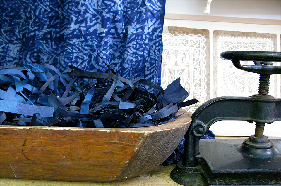 dorothy-amenuke-batik-indigo-paper-offcuts-antique-book-press.jpg