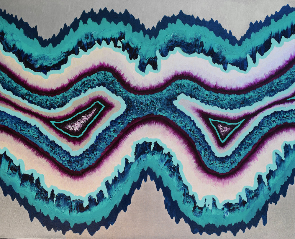"""Geode #3 - Acrylic on CanvasSemi Gloss Finish40""""x30""""SOLD"""