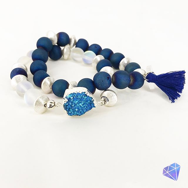 """💎Stacks of Glam💎⠀⠀⠀⠀⠀⠀⠀⠀⠀ 💙Druzy Blue -  gorgeous glam stretchy silver and blue bracelets for your stacking pleasure featuring a unique blue Druzy focal bead. Cobalt blue Druzy beads and glass """"Moonstone"""" beads with amazing flash surround the wrist. This set is accented with silver metal beads and cobalt blue fringe.⠀⠀⠀⠀⠀⠀⠀⠀⠀ Stacks of Glam 💎  The exclusive new line of gorgeous handcrafted bracelets found only at Glam Pretties Boutique. ⠀⠀⠀⠀⠀⠀⠀⠀⠀ Each piece is handcrafted, unique, and one-of-a-kind.⠀⠀⠀⠀⠀⠀⠀⠀⠀ Shop at GlamPretties.com ⠀⠀⠀⠀⠀⠀⠀⠀⠀ 💎 ⠀⠀⠀⠀⠀⠀⠀⠀⠀ 💎⠀⠀⠀⠀⠀⠀⠀⠀⠀ 💎⠀⠀⠀⠀⠀⠀⠀⠀⠀ 💎⠀⠀⠀⠀⠀⠀⠀⠀⠀ 💎⠀⠀⠀⠀⠀⠀⠀⠀⠀ #effortlessstyle #over40andfabulous #glamjewelry #lightweightjewelry #boutiquestyles #fashionjewelry #over30style #over50style #sophisticatedstyle #fashionaccessories #jewelrysets #jewelrylookbook #jewelryofinstagram #jewelryboutique #accessoriesboutique #braceletstacks #stacksofbracelets #druzylove #druzybracelets #gemstonebracelet #fringebracelet #healingbracelet #goodvibesbracelet #braceletsets #druzystacks #druzyandsilver #cobaltblue #druzyagate #moonstonebracelet"""