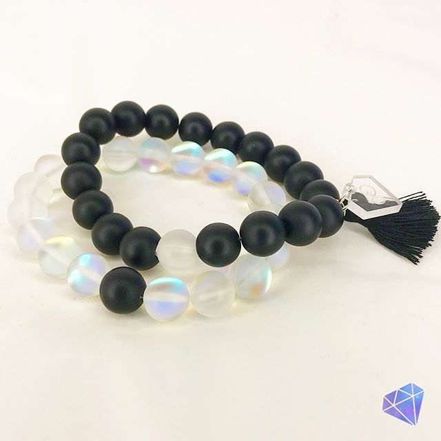 """💎Stacks of Glam💎⠀⠀⠀⠀⠀⠀⠀⠀⠀ 🖤Black & White - Set of two handmade stretchy bracelets. Adorn your fabulous wrist with glass """"Moonstone"""" beads and natural matte black Onyx beads. The juxtaposition of the matte black and the gorgeous flash of the glass Moonstone beads is amazing!⠀⠀⠀⠀⠀⠀⠀⠀⠀ Stacks of Glam 💎  The exclusive new line of gorgeous handcrafted bracelets found only at Glam Pretties Boutique. ⠀⠀⠀⠀⠀⠀⠀⠀⠀ Each piece is handcrafted, unique, and one-of-a-kind.⠀⠀⠀⠀⠀⠀⠀⠀⠀ Shop at GlamPretties.com ⠀⠀⠀⠀⠀⠀⠀⠀⠀ 💎 ⠀⠀⠀⠀⠀⠀⠀⠀⠀ 💎⠀⠀⠀⠀⠀⠀⠀⠀⠀ 💎⠀⠀⠀⠀⠀⠀⠀⠀⠀ 💎⠀⠀⠀⠀⠀⠀⠀⠀⠀ 💎⠀⠀⠀⠀⠀⠀⠀⠀⠀ #effortlessstyle #over40andfabulous #glamjewelry #lightweightjewelry #boutiquestyles #fashionjewelry #over30style #over50style #sophisticatedstyle #fashionaccessories #jewelrysets #jewelrylookbook #jewelryofinstagram #jewelryboutique #accessoriesboutique #braceletstacks #stacksofbracelets #blackonyxjewelry #druzybracelets #gemstonebracelet #fringebracelet #healingbracelet #goodvibesbracelet #braceletsets #blackonyxbracelet #blackandwhitebracelet #moonstonebracelet"""