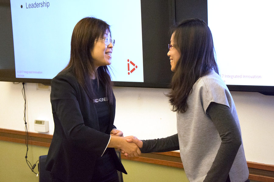 Fang runs interview scenarios with students as part of her presentation to the Product Management Club.