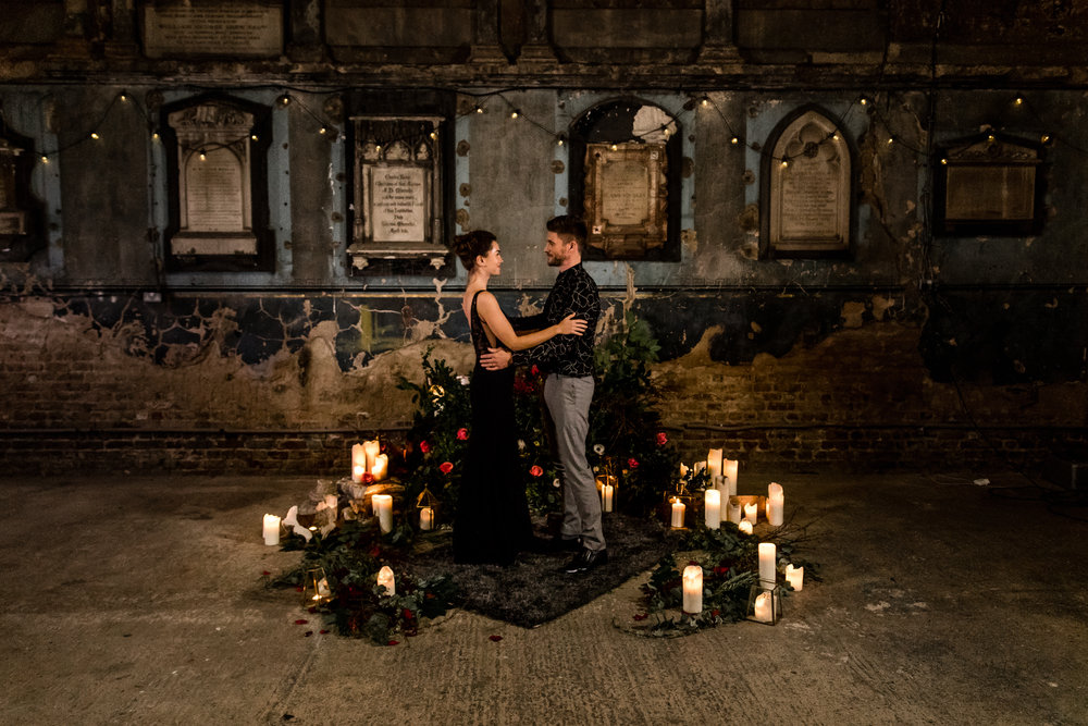 Moody and Romantic Proposal At The Caroline Gardens Asylum Chapel
