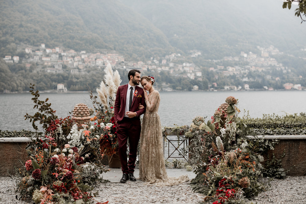 Lake Como Wedding Inspiration at an Italian Villa with a Stunning Gold Gown