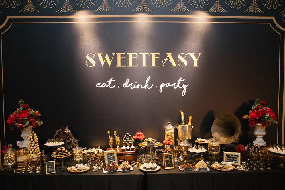 1920s wedding dessert bar