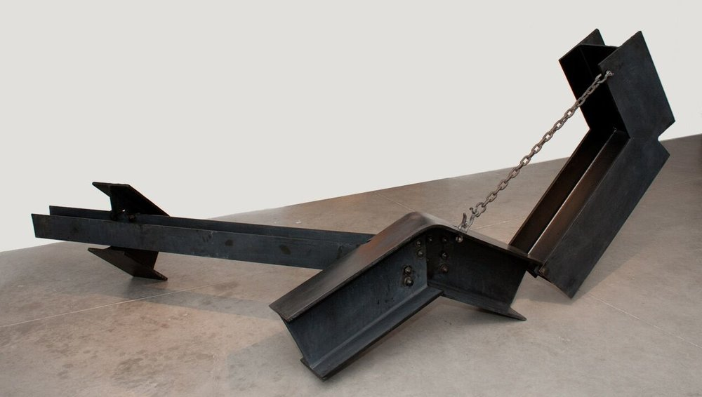Kenneth Capps  Hawk , 1972 painted steel & chain 60 x 96 x 132 in (152.4 x 243.8 x 335.3 cm)