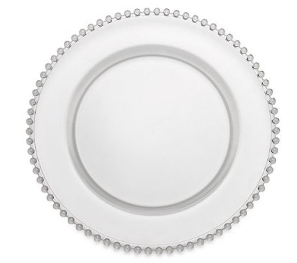 Clear Beaded Glass Charger