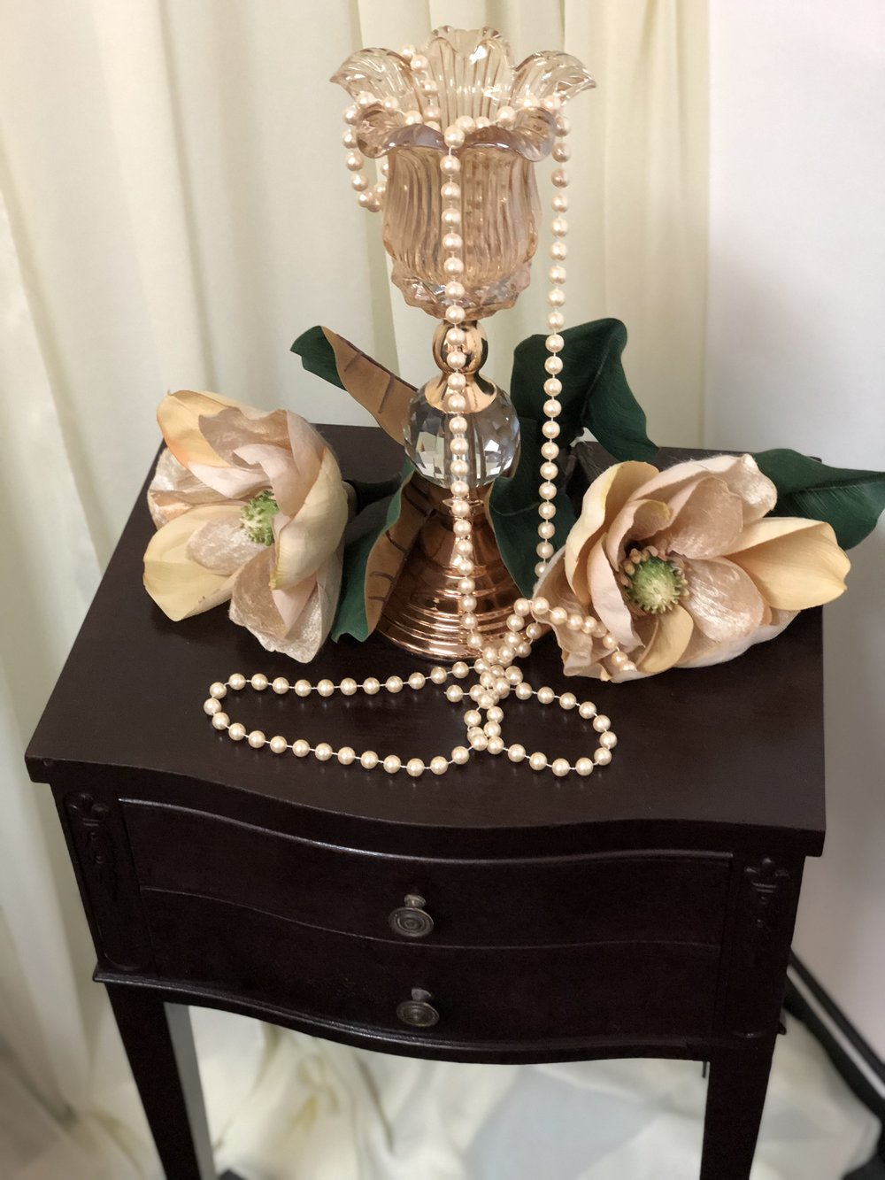 Vintage Wood Desk, Flower Candle Holder, & Pearls