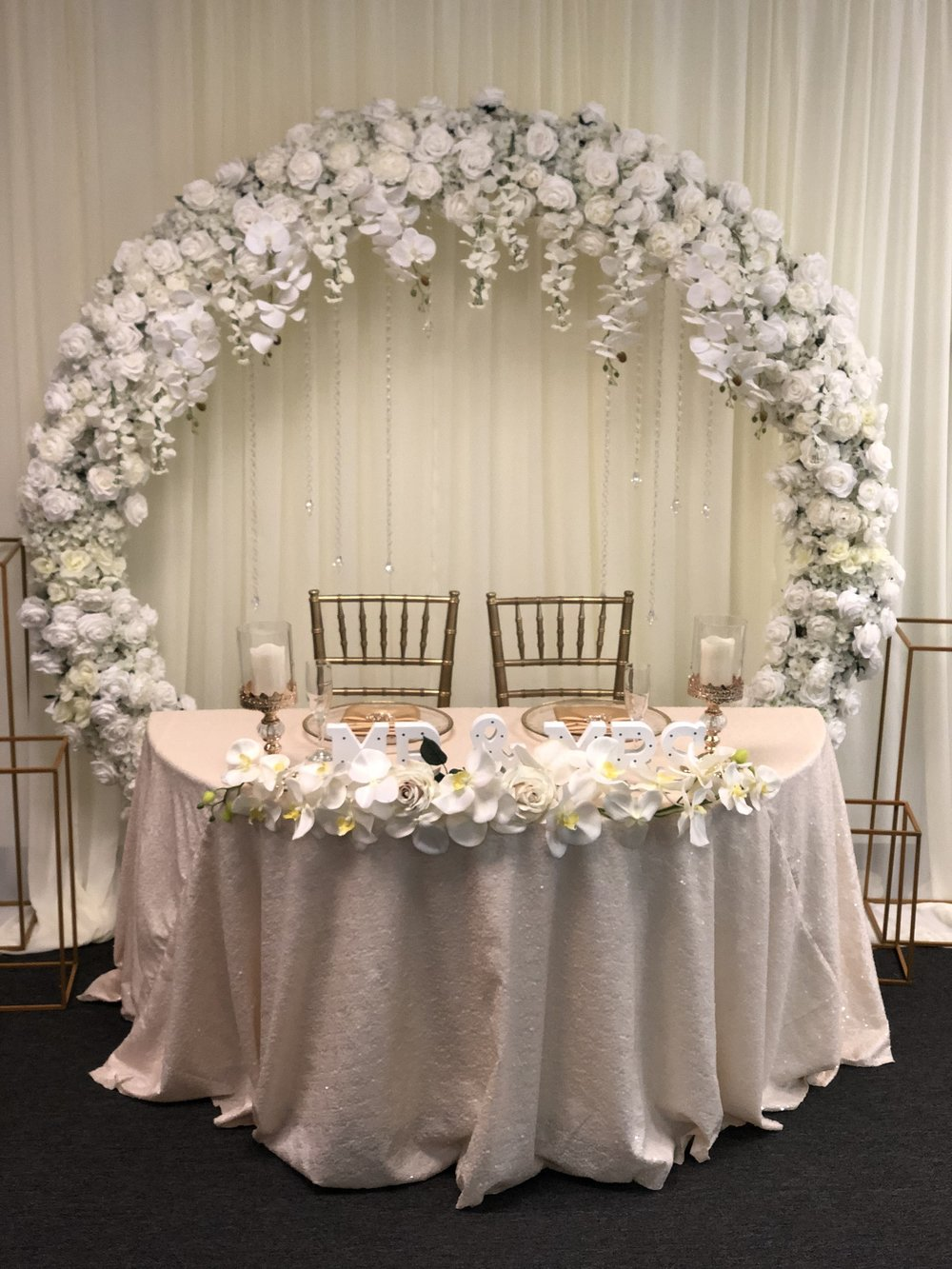 Flower Arch  Ivory Sequin Linen