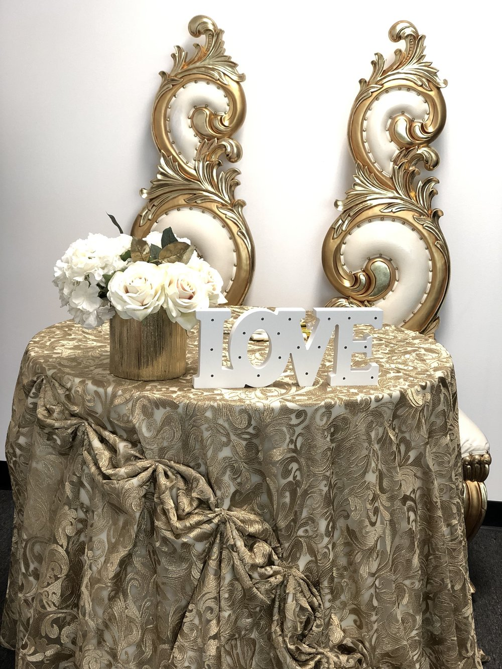 King & Queen Chairs & Gold Embroidered Linen