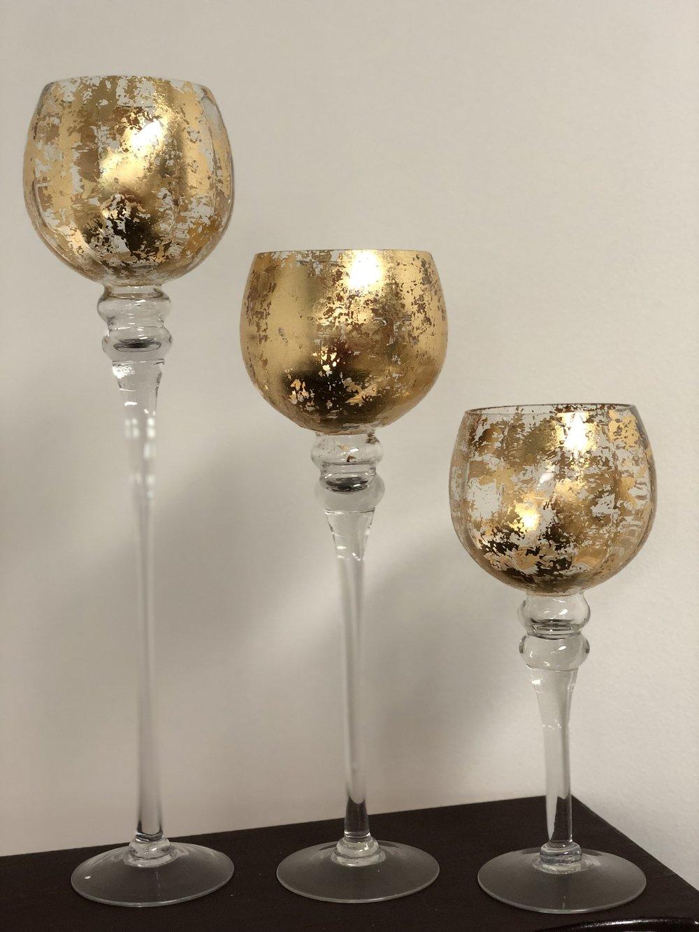 Gold set of 3 Centerpiece