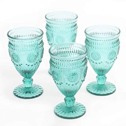 Teal Glass Goblet 12oz