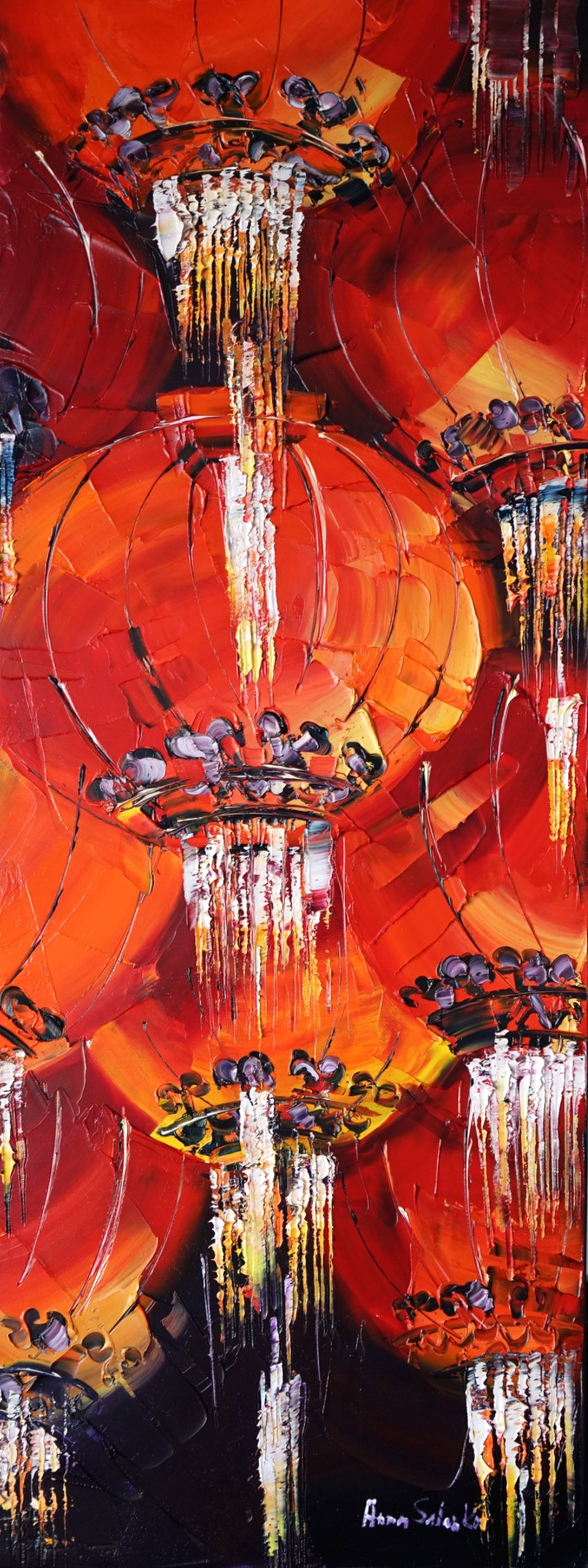 Lanterns - I love painting lanterns. (I hope one day I'll get a chance to have an exhibition devoted entirely to the pictures of lanterns) Lantern is a common holiday decoration in China. I used lots of red and orange colors while painting the picture so that to make them look as close to life as possible.
