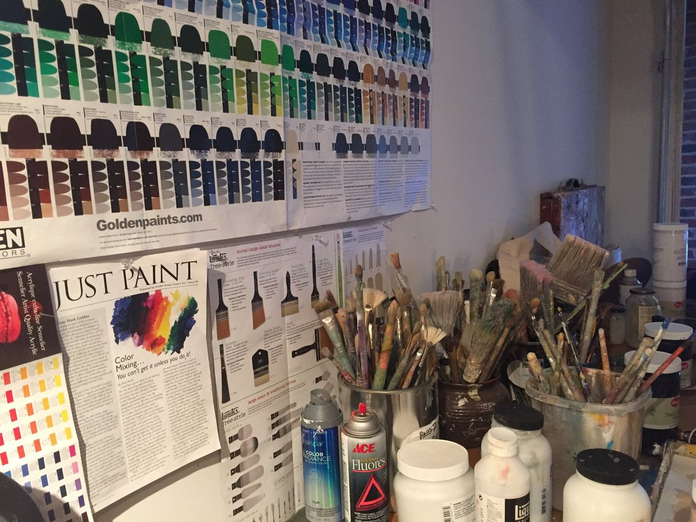 Art Studio Wall and Table full of Supplies and Reference Material
