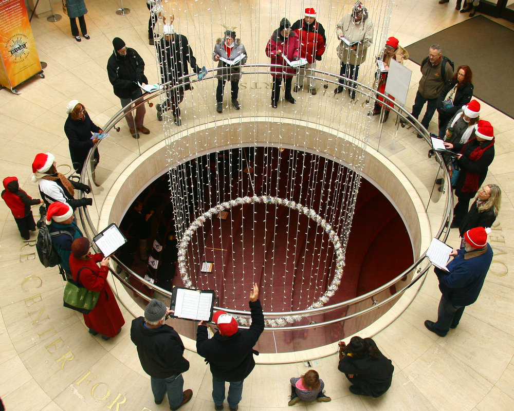 Caroling at the Overture Center in 2014.