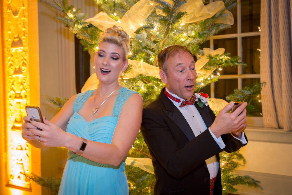 """Soloists Amanda Walker and Lee Swimm for """"Text me Merry Christmas"""" at the 2018 Tudor Dinner"""