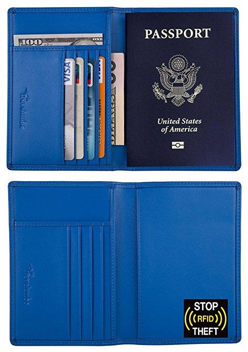 4. RFID Blocking Genuine Leather Passport Holder Wallet -