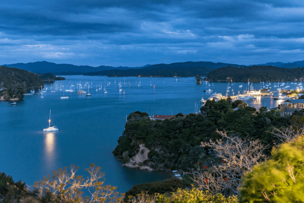 The view over the harbour from the Opua apartment deck at dusk.