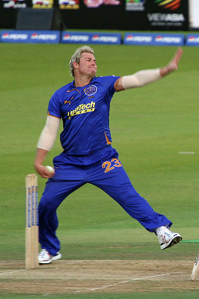 Shane Warne bowling in his last match  at Lords. Photograph attribution Chris Brown on Flickr.