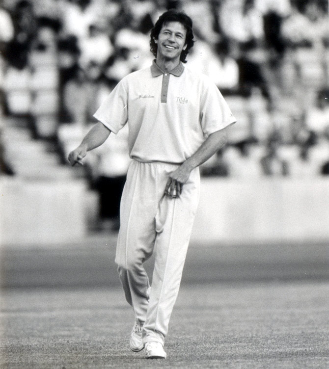 Image credit: Rediff.com - Imran Khan at an exhibition game at the Crystal Palace stadium, July 28, 1992.