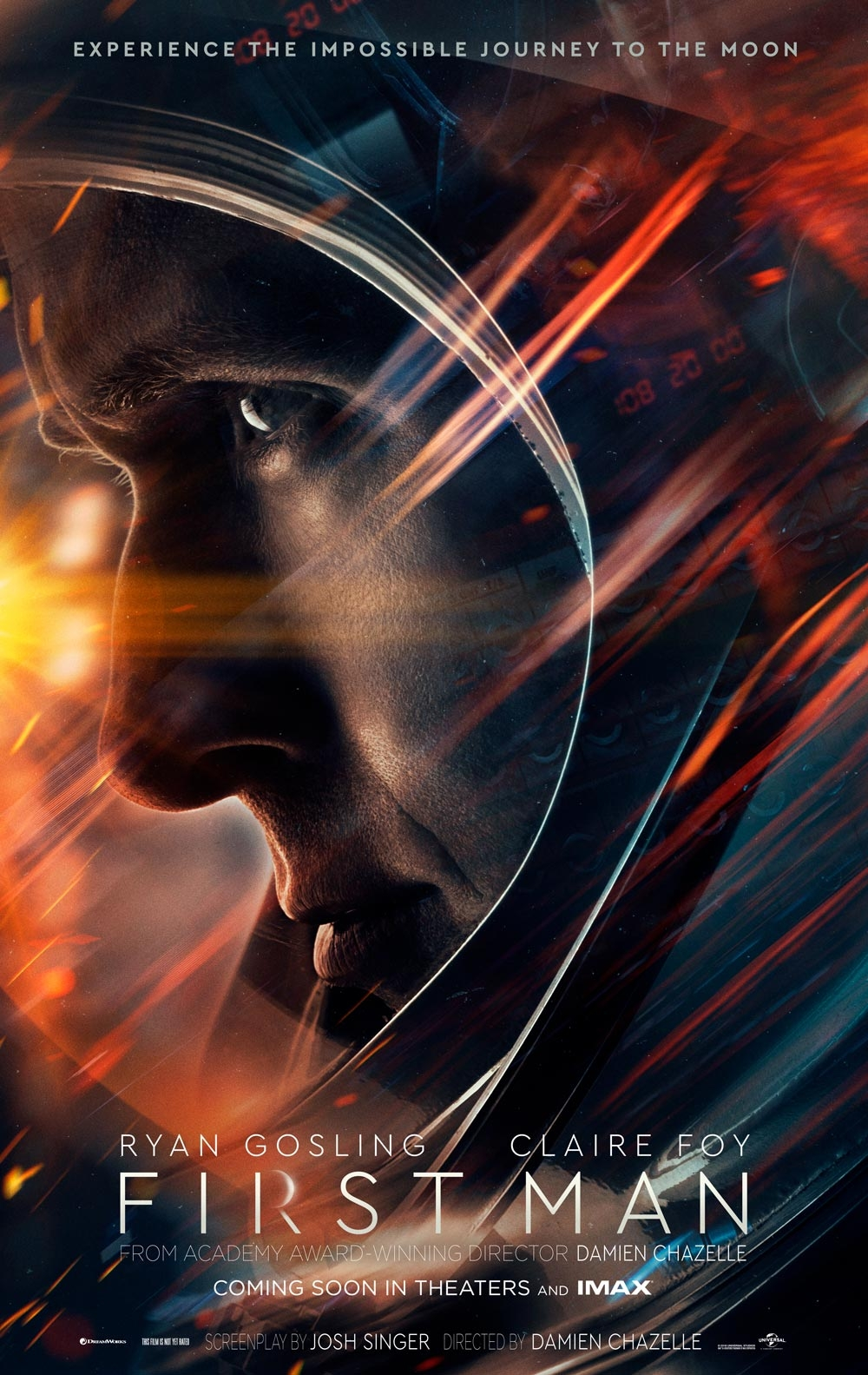 First Man - Directed by Damien ChazelleWritten by Josh Singer, based on James R. Hansen's biography of Armstrong.With Ryan Gosling, Claire Foy, Jason Clarke…