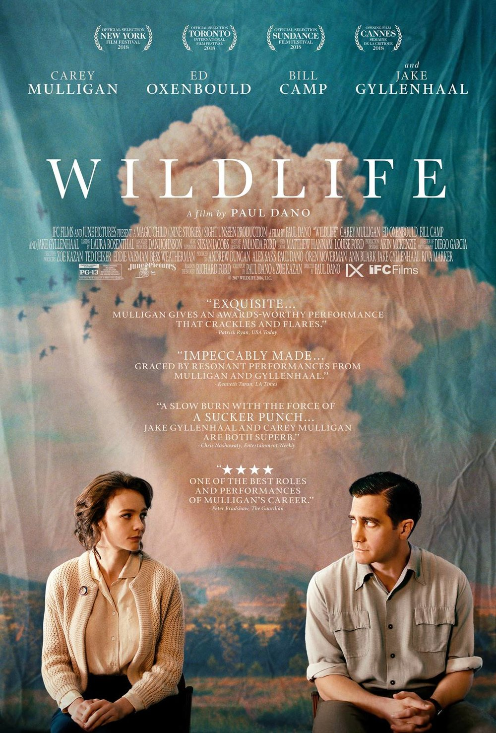 Wildlife - Directed by Paul DanoWritten by Paul Dano and Zoe Kazan based on a book by Richard FordWith Carey Mulligan, Jack Gyllenhaal, Ed Oxenbould…