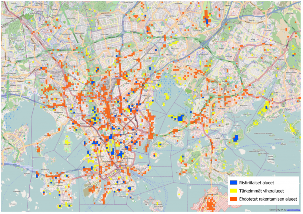 Results from Maptionnaire's survey on potential development sites in Helsinki. The red spots mark areas that could use some more construction, the yellow ones mark areas that should be saved as recreational areas, and the blue ones are areas of conflict that divide respondents' opinions. Map by Mapita.