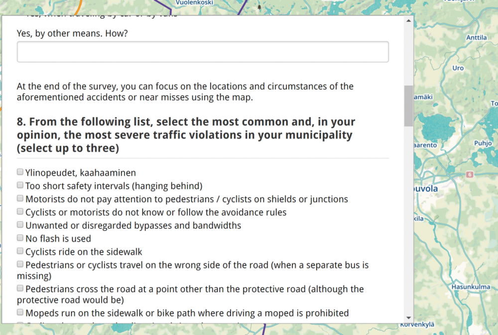 Part of Kouvola and Iitti  questionnaire :