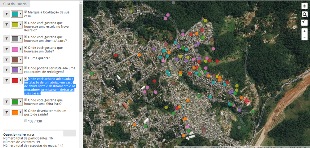A snapshot of the locations that students mapped.