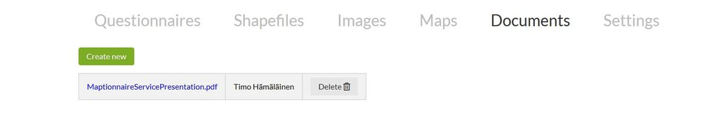"The new ""Documents"" section is accessed via the editor's top menu. Here you can upload and manage your files."