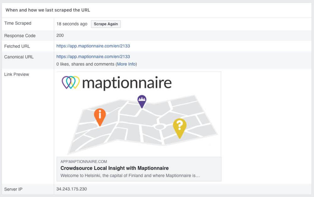 Facebook's sharing debugger tool