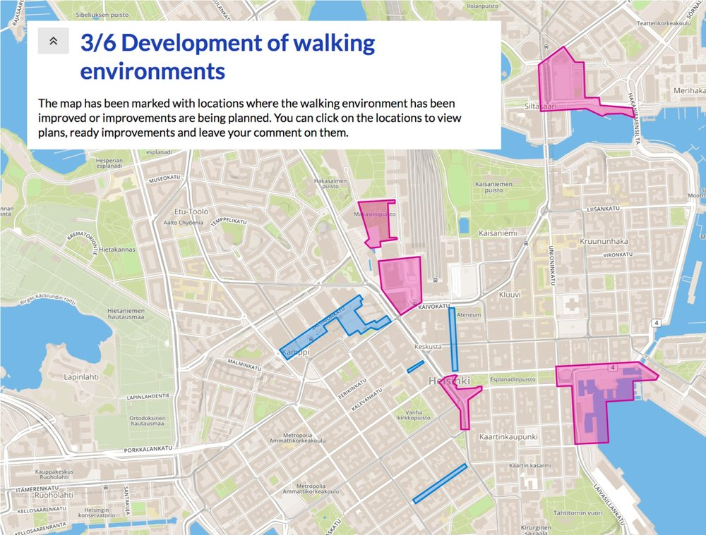Picture 2: The city's existing plans for improving the pedestrian experience were highlighted on the map as clickable objects that included information and feedback requests about them.